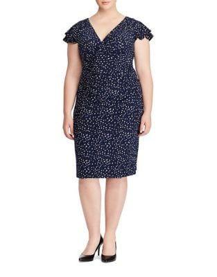 Plus Flutter Sleeve Printed Jersey Dress by Lauren Ralph Lauren