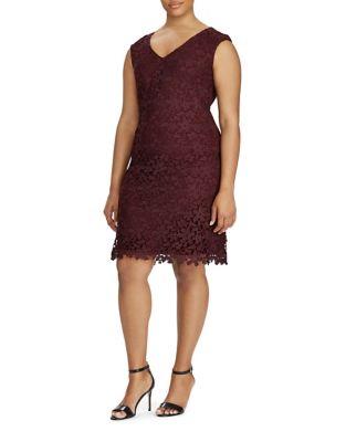 Plus Floral Lace Sheath Dress by Lauren Ralph Lauren