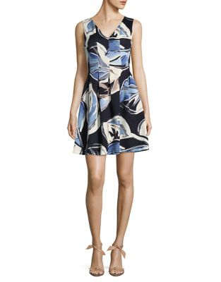 Photo of Printed Fit & Flare Dress by Vince Camuto - shop Vince Camuto dresses sales