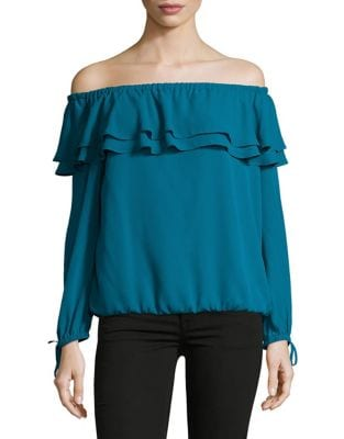 Petite Ruffled Off-The-Shoulder...