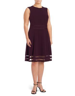Plus Aubergine A-Line Dress by Calvin Klein