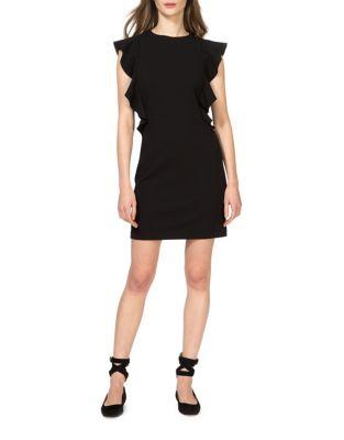 Melanie Shoulder Flounce Shift Dress by Donna Morgan