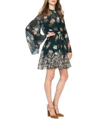 Floral Fit & Flare Chiffon Dress by Donna Morgan