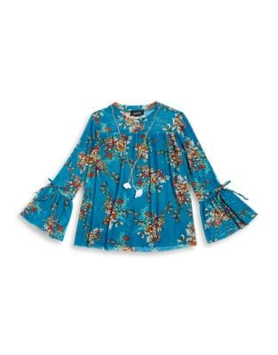 Girls Floral Bell Sleeve Top