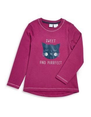 Little Girls Cat Cotton Sweatshirt