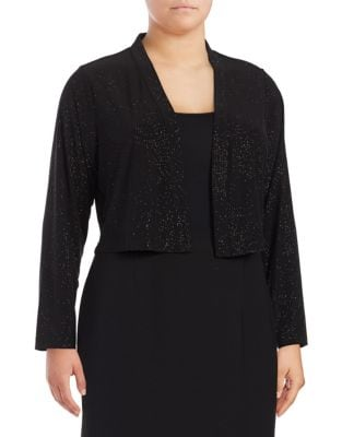 Plus Open-Front Glitter Cardigan by Calvin Klein