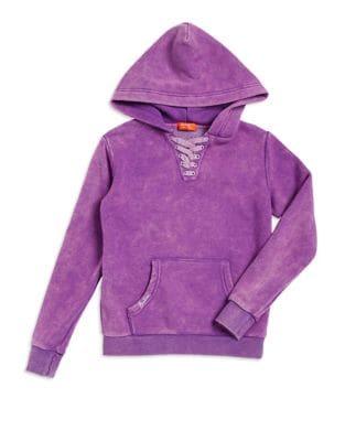 Girls LaceUp Hooded Sweatshirt