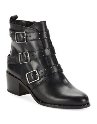 Finn Side Buckle Leather Booties by 424 Fifth
