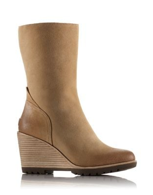 After Hours Suede Mid Wedge Booties by Sorel