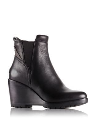 After Hours Leather Wedge Booties by Sorel