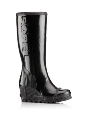 Joan Rain Wedge Tall Gloss Rain Boots by Sorel