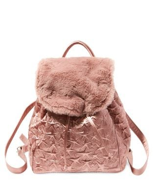 Star Embossed Satin Backpack...