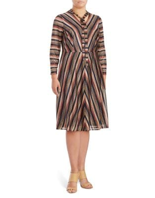 Plus Striped Fit-&-Flare Dress by London Times