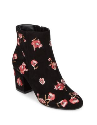 Edith Floral Leather Booties by Karl Lagerfeld Paris
