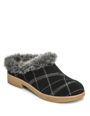 Blue Moon Suede Faux Fur Mule by Aerosoles