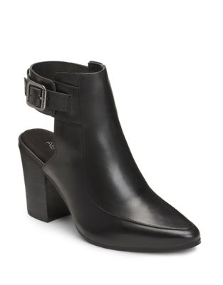 Square Up Leather Ankle Bootie by Aerosoles