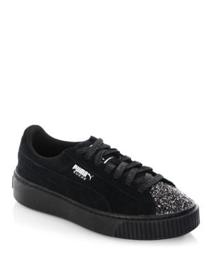 Glittered Suede Low Top Sneakers by PUMA