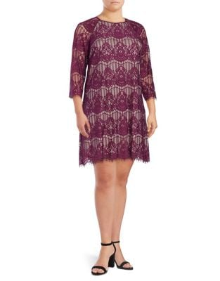 Plus Lace Trapeze Shift Dress by Adrianna Papell