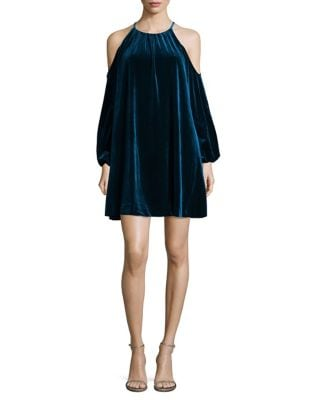 Velvet Cut-Out Trapeze Dress by Belle Badgley Mischka