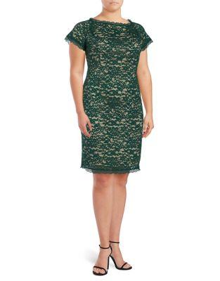 Plus Aubrey Lace Sheath Dress by Adrianna Papell