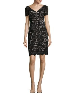Geometric Lace Sheath Dress by Nue By Shani