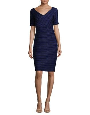 Textured Striped Knee-Length Dress by Nue By Shani