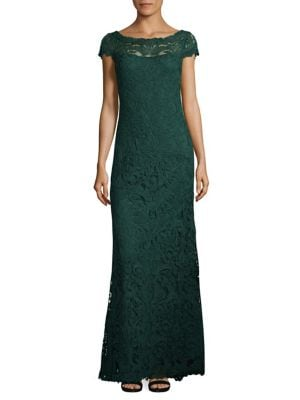 Cord Lace Cap Sleeve Gown by Tadashi Shoji