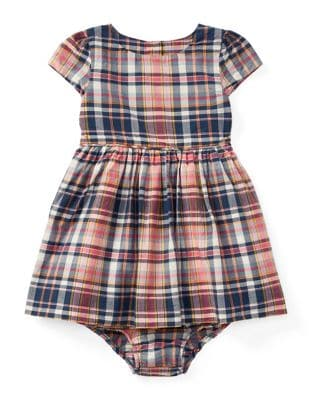 Baby Girls TwoPiece Plaid Cotton Dress  Bloomers Set