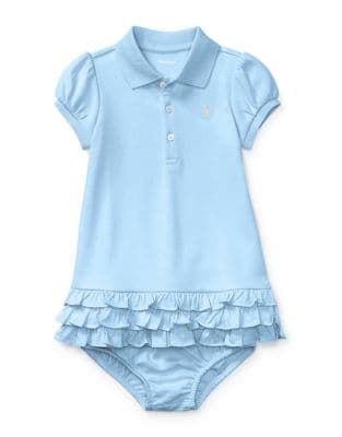 Baby Girls TwoPiece Cotton Ruffled Polo Dress  Bloomer Set