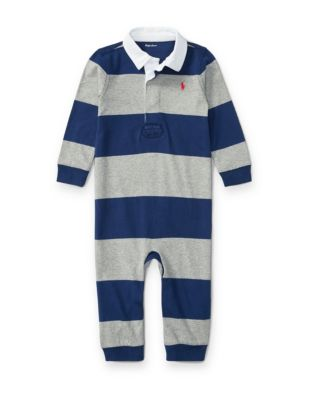 Babys Striped Cotton Rugby Coverall