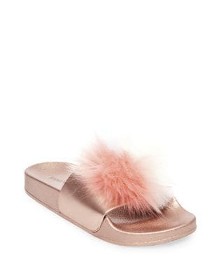 Spiral Faux Fur Slides by Steve Madden