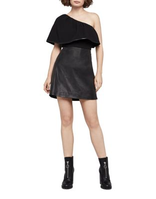 One Shoulder Faux Leather Mini Dress by BCBGeneration