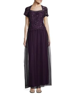 Plus Embroidered Evening Gown by Brianna