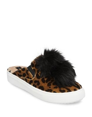 Faux Fur Leopard-Print Sneakers by Steven by Steve Madden