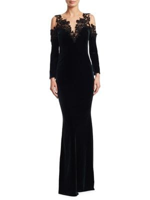Beaded Velvet Gown by Marchesa Notte