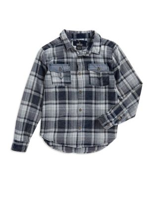 Boy's Plaid Cotton Button-Down Shirt 500087440543