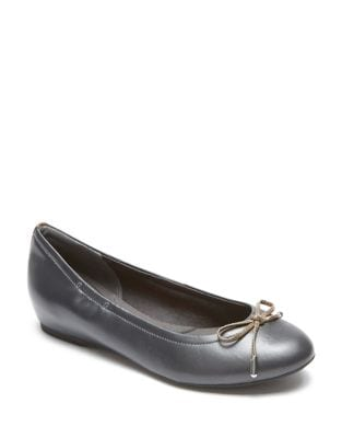 Hidden Wedge Leather Flats by Rockport