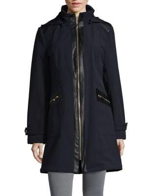 Zip-Front Highneck Coat...