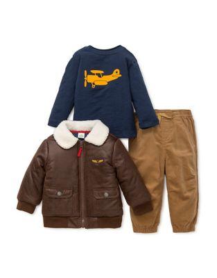 Baby Boys ThreePiece Faux Fur Trim Jacket Top  Pants Set