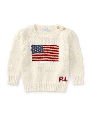 Infant Girls American Flag Crewneck Pullover
