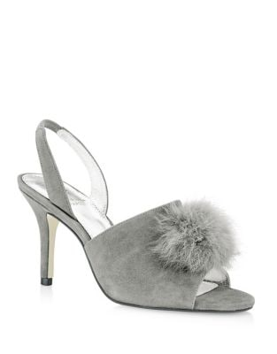 Alecia Suede Rabbit Fur Sandals by Adrianna Papell