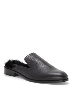 Leather Slip-On With Dyed Rabbit Fur by 1.STATE