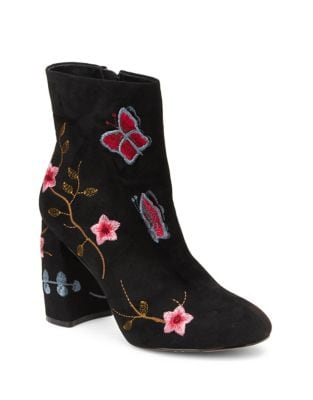 Lilly Embroidered Floral Faux Suede Booties by Nanette By Nanette Lepore