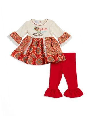 Baby Girls TwoPiece Gobble If You Wobble Top and Pants Set