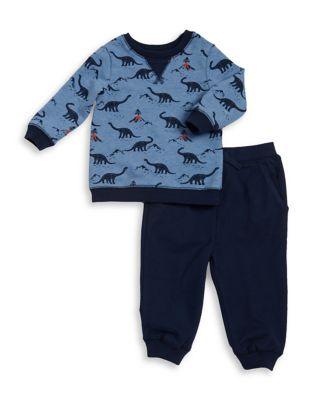 Boy Boys TwoPiece Dino Cotton Sweatshirt and Jogger Pants Set