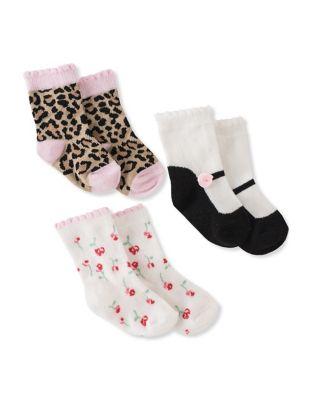 Baby Girls ThreePiece Assorted Cotton Socks
