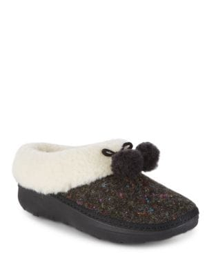 Loaff TM Fur-Trimmed Felt Slippers by FitFlop