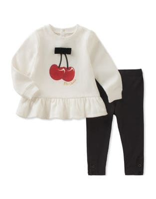 Baby Girls TwoPiece Cherry Sweatshirt and Stretchable Leggings Set