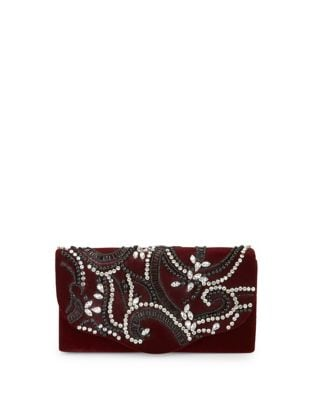 Velvet Embellished Clutch 500087470923