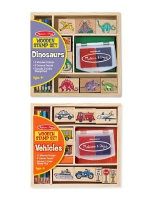 Dinosaurs and Vehicles Wooden Stamp Bundle Set